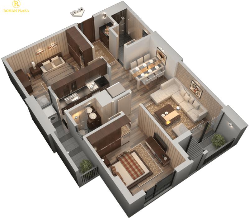 3D căn hộ 2 phòng ngủ chung cư roman plaza
