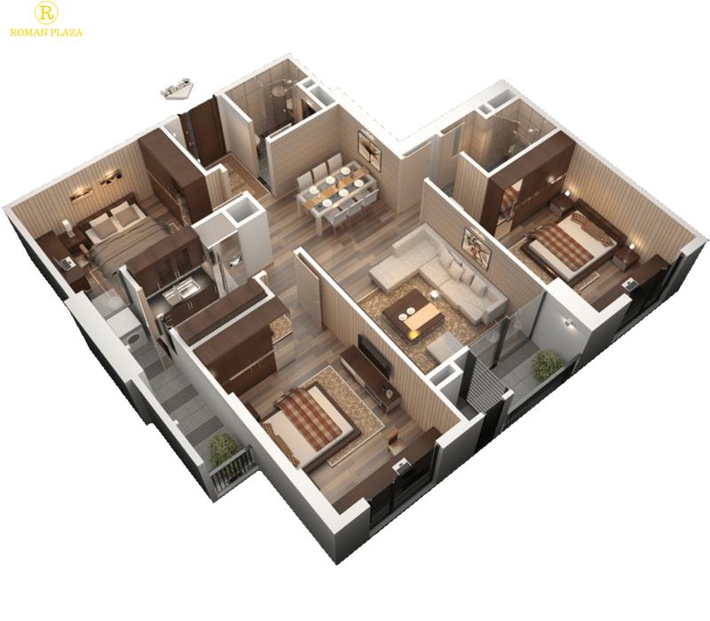 3D căn hộ 3 phòng ngủ chung cư roman plaza