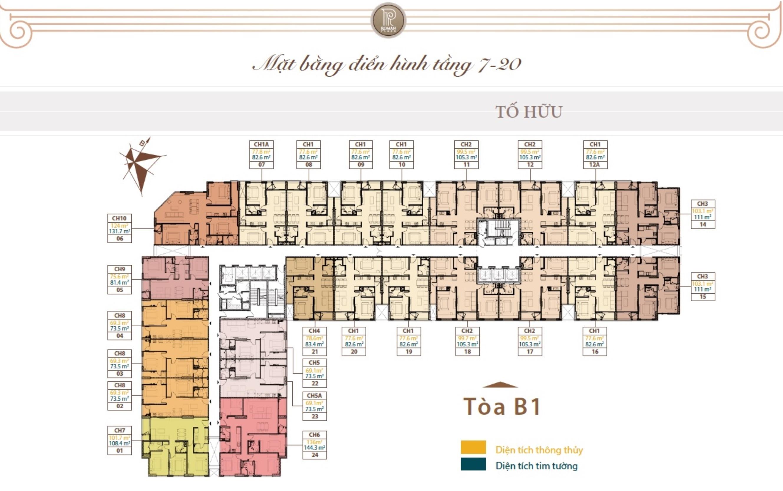 Mặt bằng điển hình dự án Roman Plaza từ tầng 7 đến tầng 20