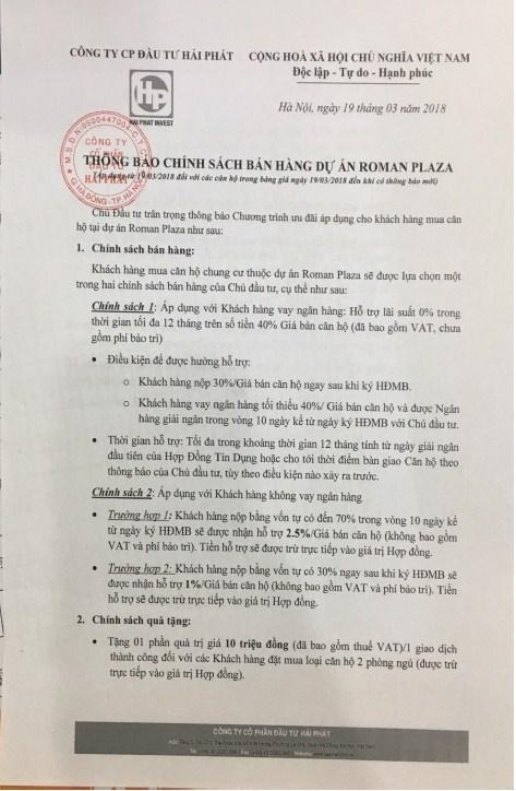 Chinh sach ban hang Roman Plaza 01